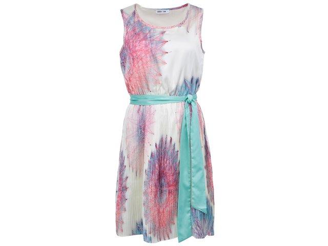 Krémové šaty s barevným potiskem GINGER+SOUL