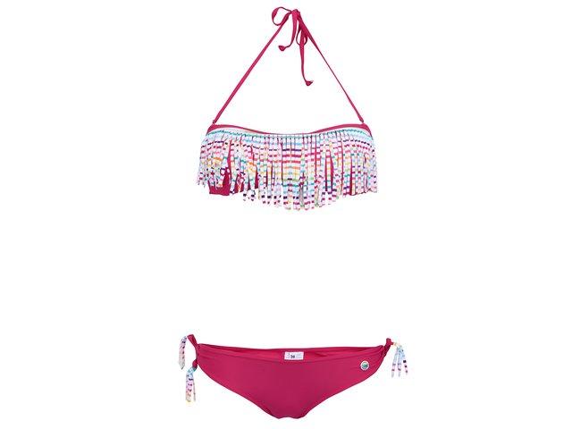 Tmavě růžové plavky s barevnými třásněmi Little Marcel Bangi