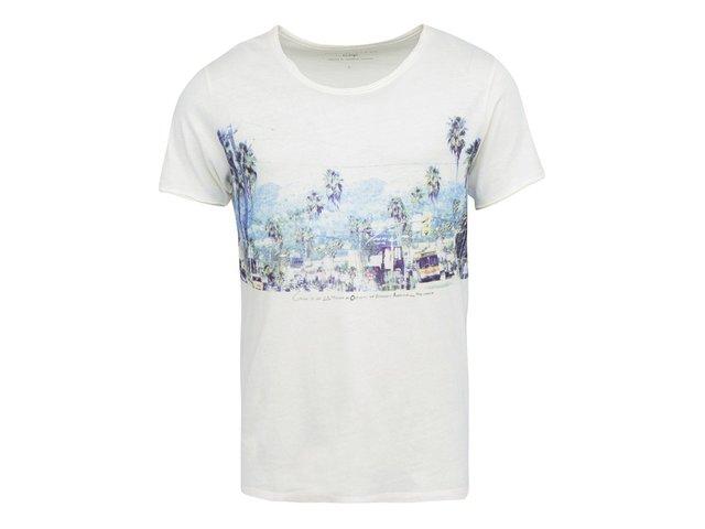 Krémové triko s potiskem Selected Perspective