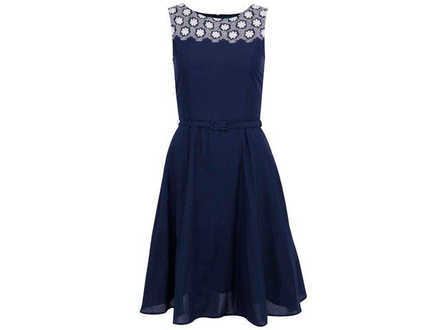 Tmavě modré šaty s bílou krajkou Fever London Bellis