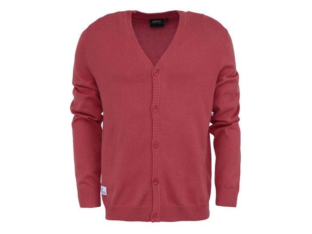 Červený bavlněný svetr na knoflíky WeSC Borik