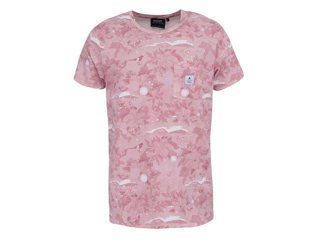 Bílo-růžové vzorované triko WeSC Sarek Hawaii