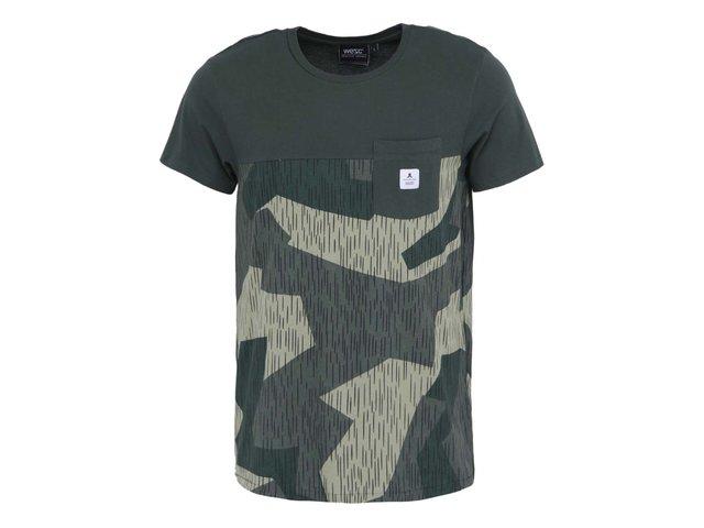 Zelené maskáčové triko s kapsou WeSC Rain Camo