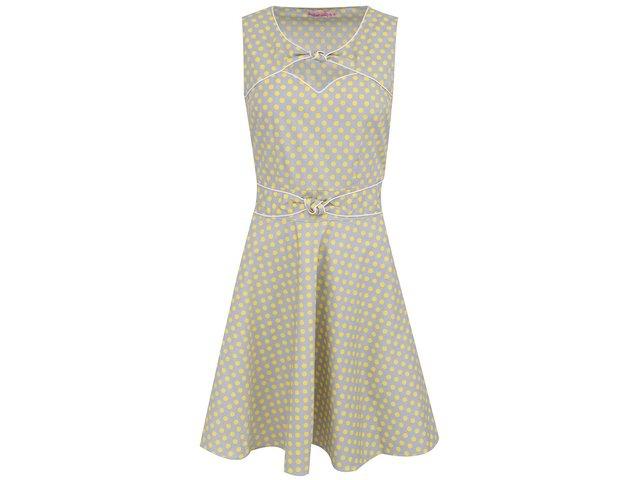 Šedé šaty se žlutými puntíky Trollied Dolly Twist ´N´ Shout