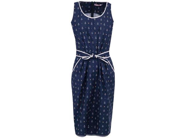 Tmavě modré šaty s kotvičkami Trollied Dolly Anything Goes