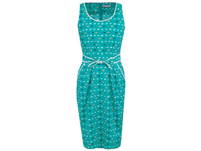 Zelené šaty s barevnými puntíky Trollied Dolly Anything Goes