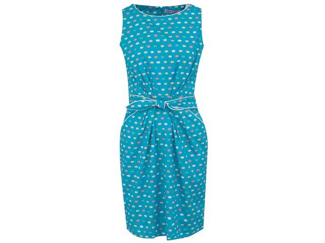 Tyrkysové šaty s barevnými puntíky Trollied Dolly Sunday Best
