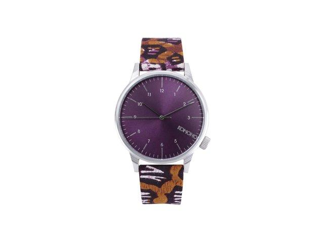 Fialovo-hnědé unisex hodinky Komono Winston Silver