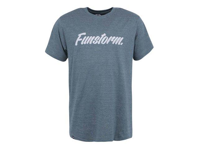 Zelenomodré pánské triko s nápisem Funstorm Larner