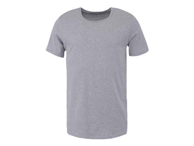 Šedé pánské triko s kulatým výstřihem Claudio