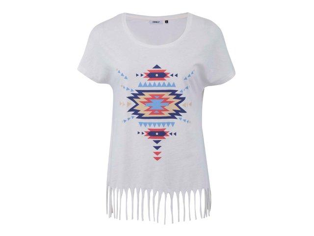 Bílé tričko s modrým potiskem a třásněmi ONLY Fringa I.