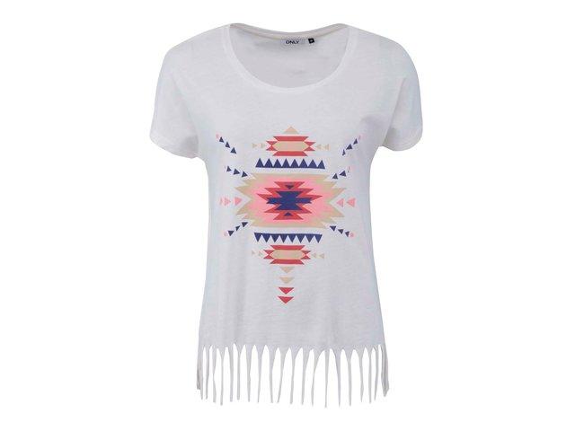 Bílé tričko s růžovým potiskem a třásněmi ONLY Fringa II.