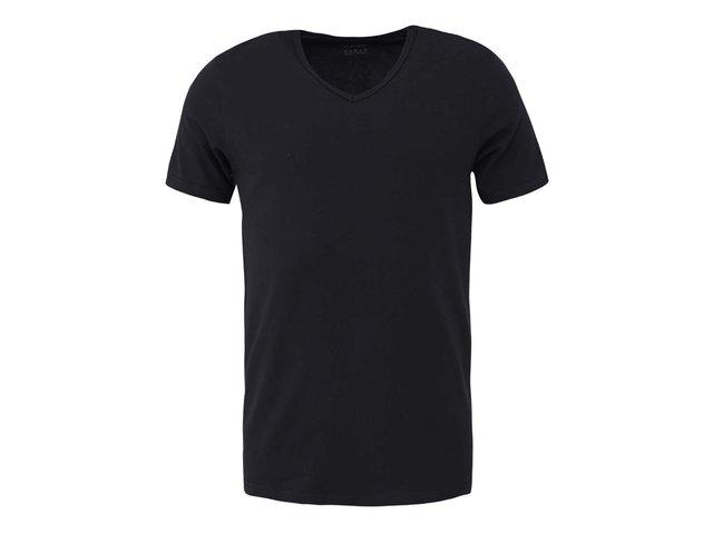 Černé pánské triko s véčkovým výstřihem Claudio
