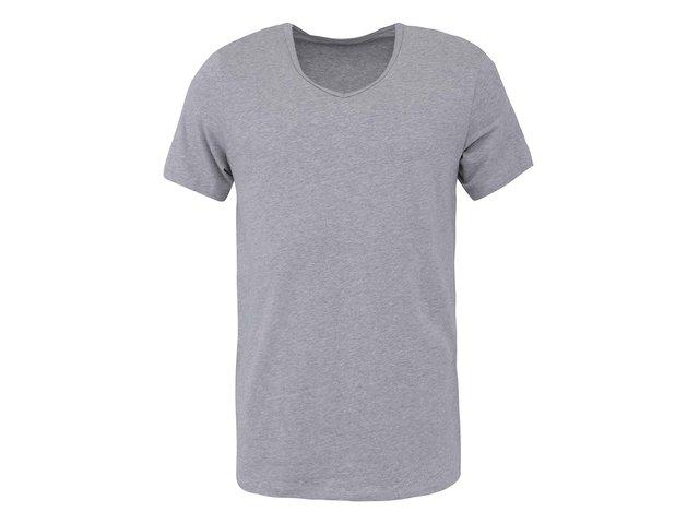 Šedé pánské triko s véčkovým výstřihem Claudio