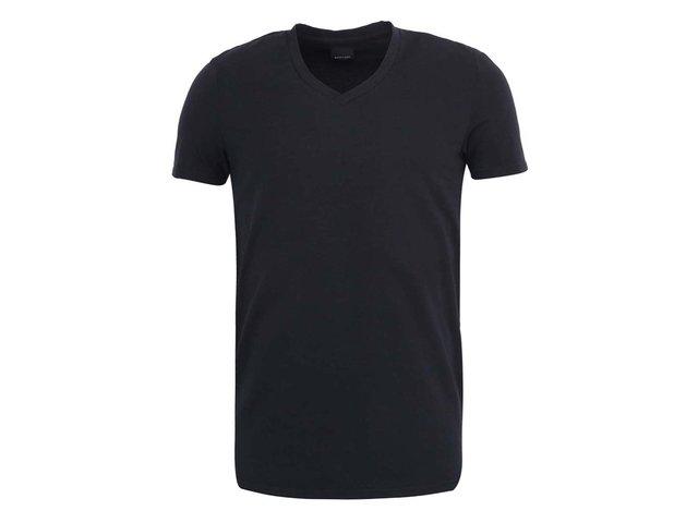 Černé triko s véčkovým výstřihem ONLY & SONS Pima