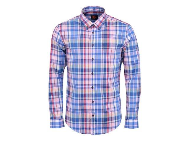 Růžovo-modrá kostkovaná košile Seidensticker BD City Super Slim Fit ... be7e0d2ce98b