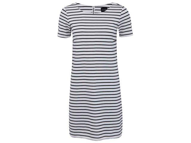 Černo-bílé pruhované šaty s krátkým rukávem VILA Tinny