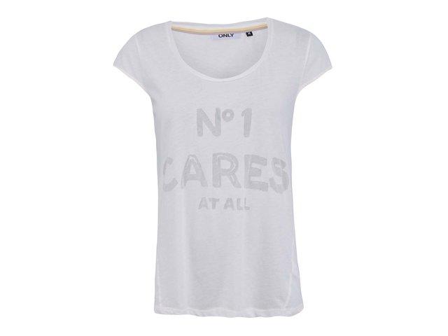 Bílé tričko s nápisem ONLY Luki