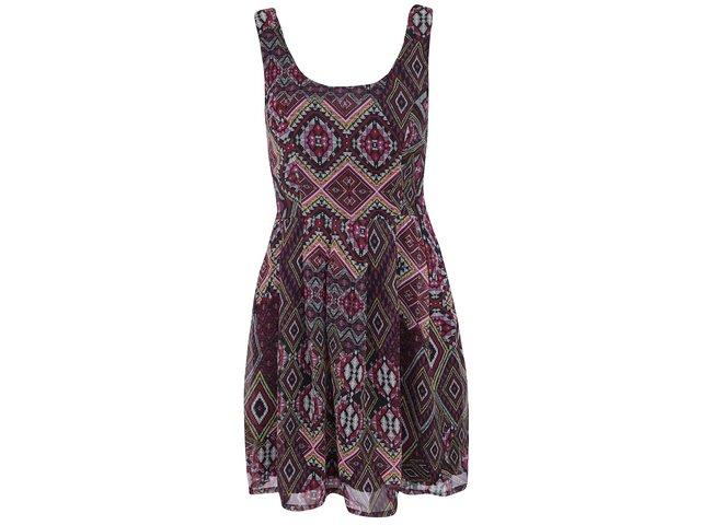 Vínové vzorované šaty ONLY Calypso