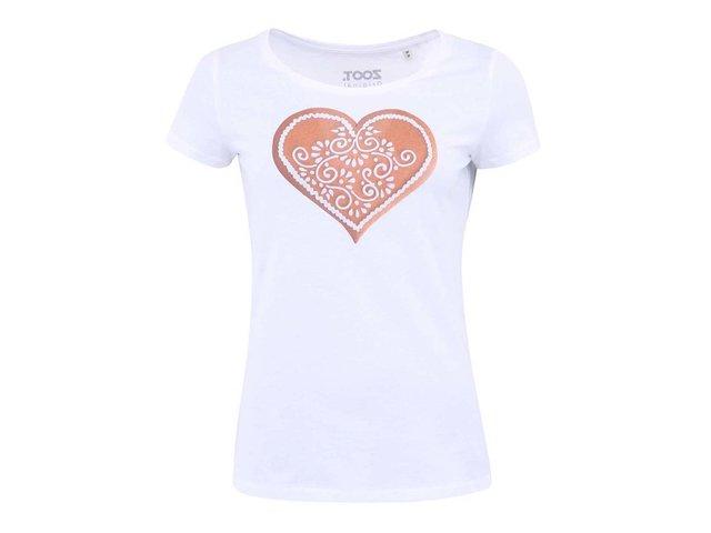 Bílé dámské tričko ZOOT Originál Srdce z perníku