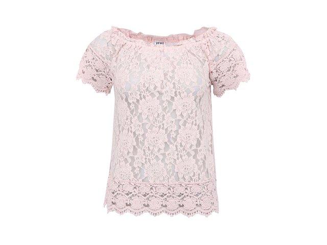 Růžový krajkovaný top s krátkými rukávy Vero Moda Gianna