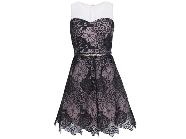 Černé šaty s motivy květin Little Mistress