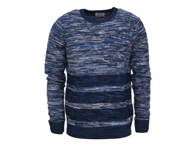 Modrý pletený svetr s pruhy D-Struct Saffle