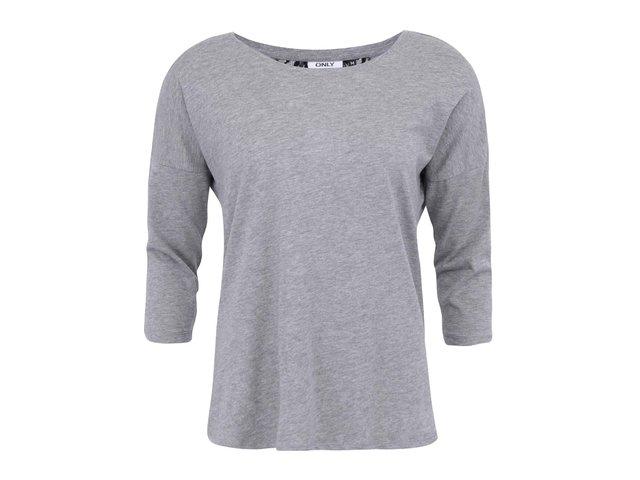 Světle šedé tričko s krajkou a 3/4 rukávem ONLY Abbie