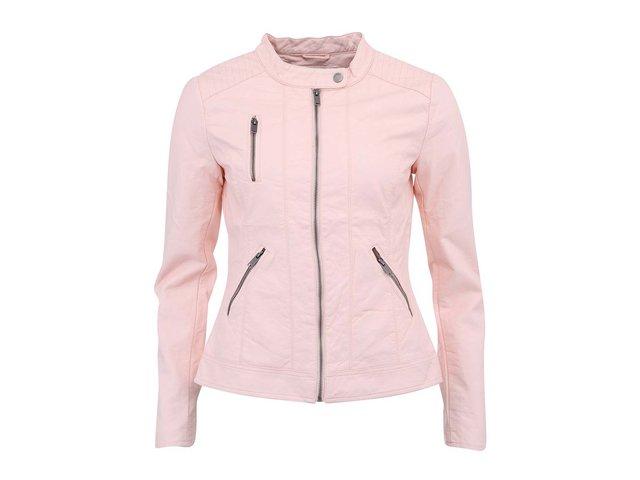 Růžová koženková bunda ONLY Ferry