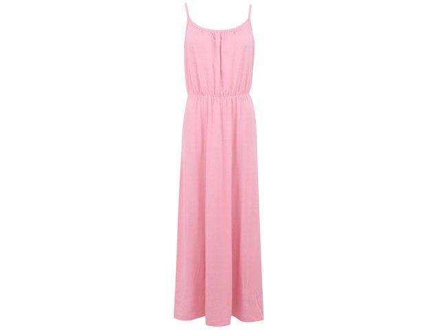 Světle růžové maxišaty s úzkými ramínky Vero Moda Enjoy