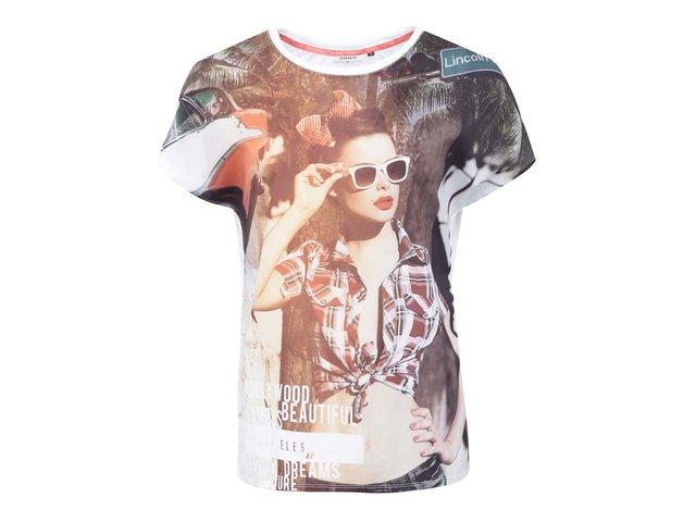 Bílé tričko s fotopotiskem ONLY Palm Drive