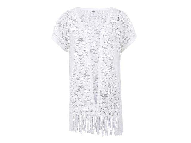 Bílý cardigan s třásněmi Vero Moda Sharlyn