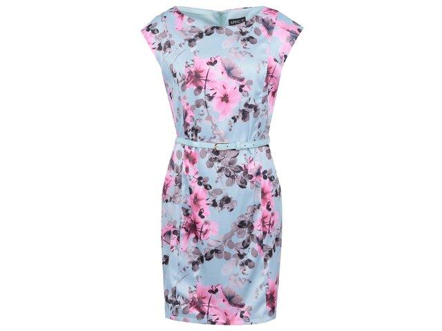 Mentolové květované šaty s páskem Apricot