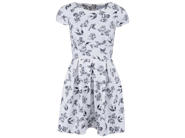 Bílé šaty s ptáčky Closet