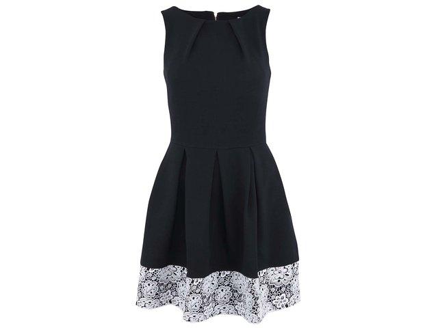Černé šaty s bílou krajkou Closet