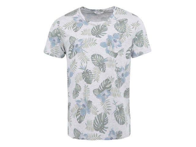 Šedé triko s botanickým potiskem ONLY & SONS Logan