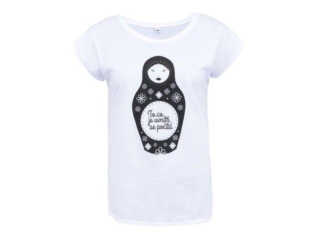 Bílé dámské tričko ZOOT Lokál Matrjoška