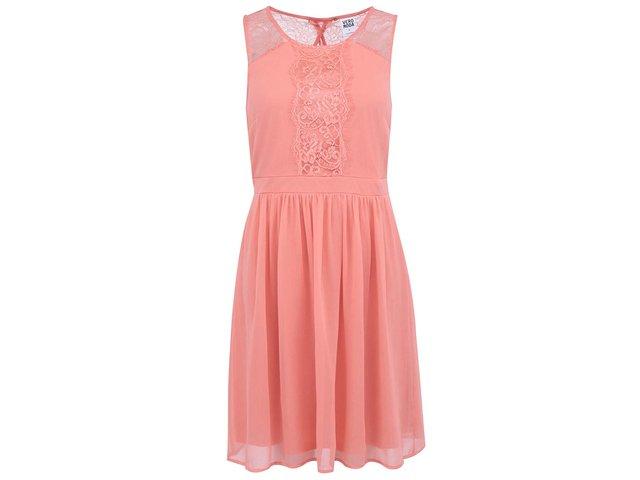 Korálové šaty s krajkou Vero Moda Sissy
