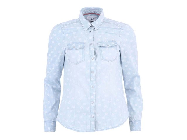 Modrá džínová košile s potiskem rtů ONLY Pop