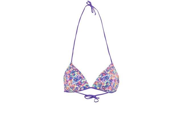 Fialový vrchní díl plavek s květinovým potiskem košíčků Vero Moda Bikka