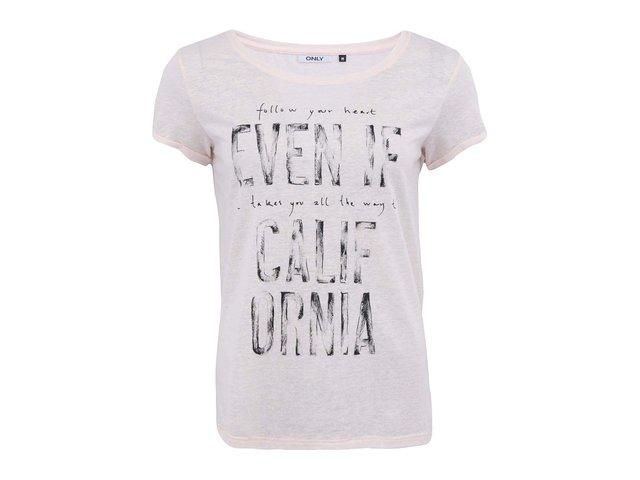 Světle růžové tričko s potiskem ONLY Ellen