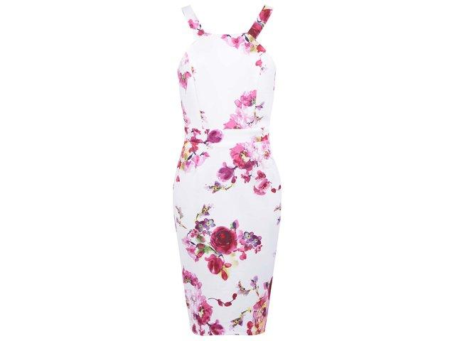Bílo-růžové květované šaty Paper Dolls