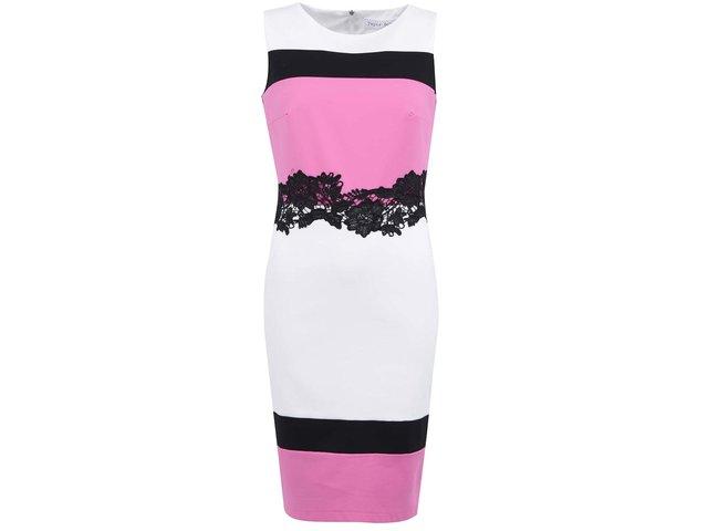 Růžovo-bílé šaty s krajkou Paper Dolls