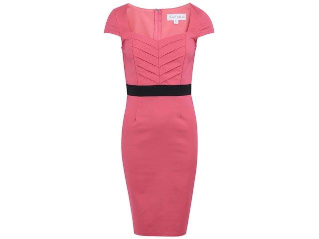 Růžové šaty se zdobeným pasem Paper Dolls