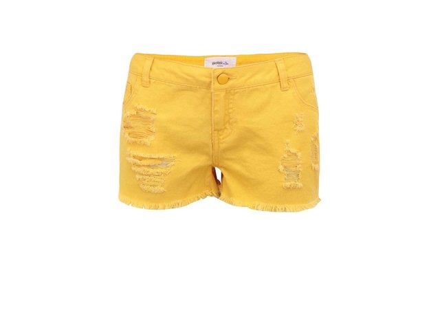 Sytě žluté džínové kraťasy Vero Moda Paula