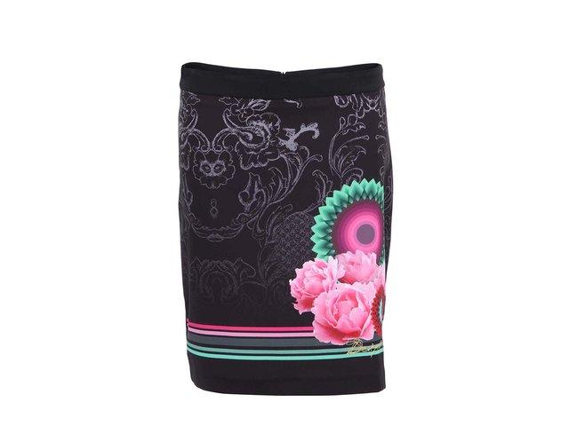 Černá sukně s květovaným potiskem Desigual Matty