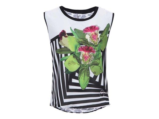 Černo-bílý top s květinovým potiskem Desigual Floral