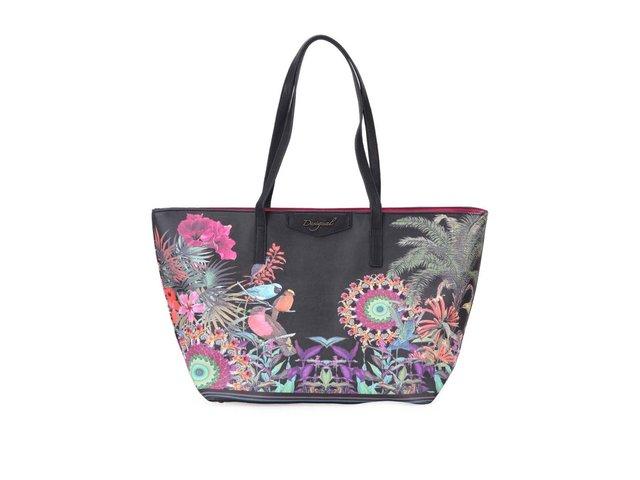 Černá kabelka s tropickým vzorem Desigual