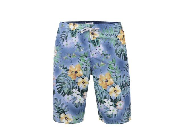 Světle modré delší plavky s havajskými květy Blend