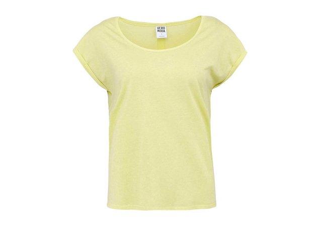 Limetkově žluté tričko s krátkými rukávy Vero Moda Beauty